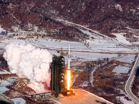The Unha-3 (Milky Way 3) rocket launching at DPRK West Sea Satellite launch site in Cholsan county, North Pyongan province. (Video released by KCNA on Dec. 13, 2012)