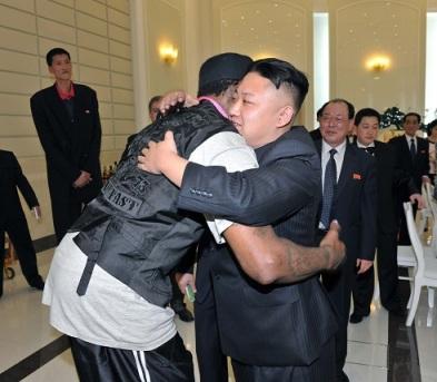 Dennis Rodman hugs North Korean leader Kim Jong Un in a photo released by KCNA news agency. (Reuters/KCNA)