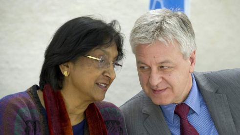President of the Human Rights Council Remigiusz A. Henczel (right) and High Commissioner for Human Rights Navi Pillay. (Photo by Violaine Martin)