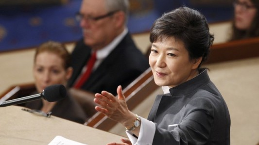 ROK President Park Geun-hye addresses a joint meeting of Congress in Washington 8 May 2013. (Photo from Ebru News)