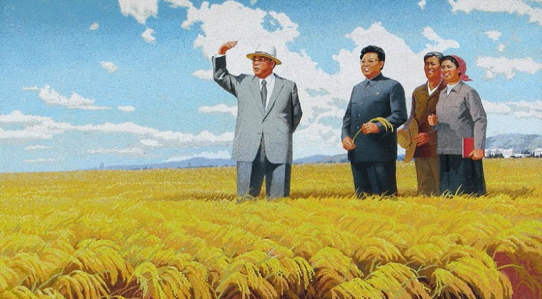 Picture panel at Sambong Farm, Pyongwon County, DPRK (Photo by Erich Weingartner)