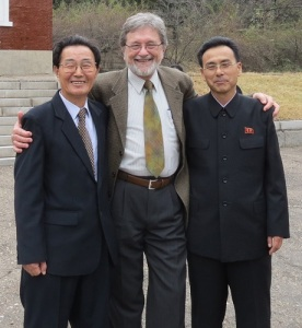 Erich Weingartner with Rev. Hwang Min U, chief minister of Chilgol Church, and Rev. Ri Jong Ro in Pyongyang, November 2012. (Photo by Stuart Lyster)