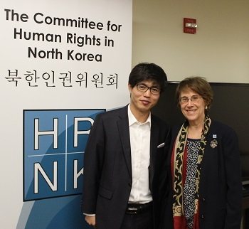 Roberta Cohen with Shin Dong Hyuk