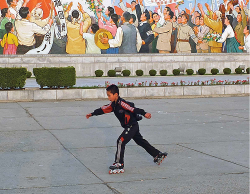 Rollerblading has become a hot new hobby on the boulevardes of Pyongyang. (Photo by Rudiger Frank)